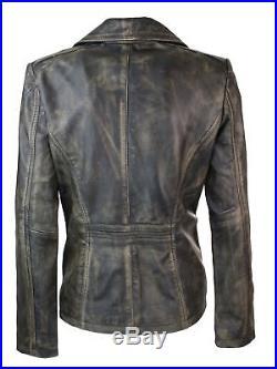 Veste femme cuir véritable blouson cintré noir doré vintage