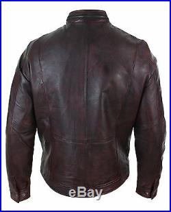 Veste homme cuir véritable délavé bordeaux fermeture éclair style biker motard