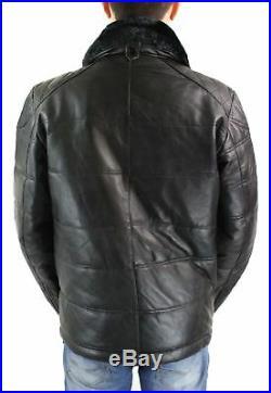 Veste homme cuir véritable fermeture éclair diagonale matelassé fausse fourrure