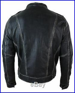 Veste homme cuir véritable noir délavé vieilli coupe cintrée style biker rétro