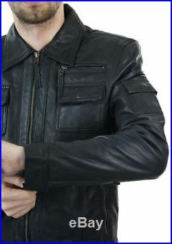 Veste homme cuir véritable noir style vintage rétro décontractée coupe slim