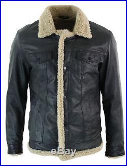 Veste homme cuir véritable style blouson en jean aviateur fausse peau de mouton