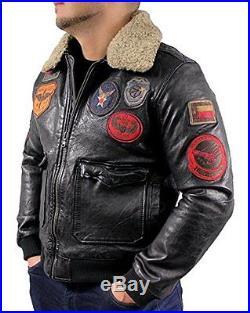 Veste homme en cuir d'aviateur Blouson Bombardier lamm-nappa-echtleder Noir