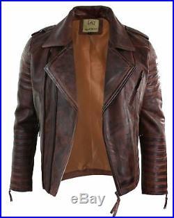 Veste homme fermeture zip diagonale vintage rétro biker cuir véritable marron
