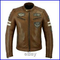 Veste homme moto cuir Vintage, biker, avec toutes les protections