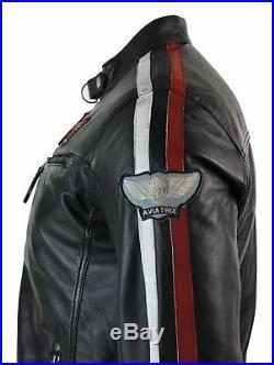 Veste motard pilote cuir véritable noir fermeture éclair badge rayures homme