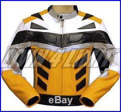 Veste moto blouson en cuir motard motocyclette jaunes