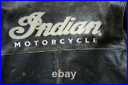 Veste moto classique INDIAN MOTORCYCLE vintage cuir marron foncé patiné