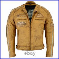 Veste moto pour homme, veste moto rétro avec armure CE, cuir véritable