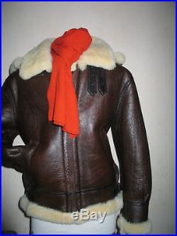 Veste, peau lainée épaisse, taille L-M, blouson, neuf, marron, capuche amovible