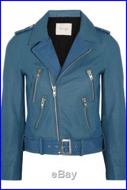 Veste perfecto blouson en cuir MAJE bleu taille 40 NEUF avec étiquette