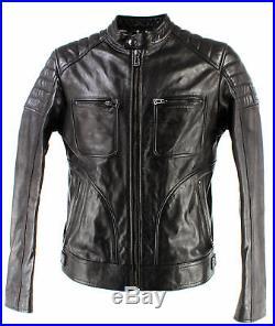 Vestes Hommes BELSTAFF 71020506 Weybridge Blouson Man Black Cuir Noir New