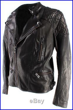Vestes Hommes BELSTAFF 71020508 Greensted Blouson Man Black Cuir Noir New