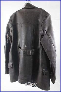 Vieux Noir Blouson Moto Veste en Cuir Voiture Ancienne 30er Années