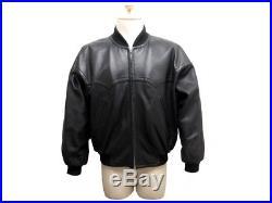 Vintage Blouson Yves Saint Laurent L 50 Manteau En Cuir Noir Veste Jacket 3490