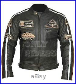 Vintage Homme veste de motard en cuir Moto. Hommes Blouson En Cuir pour Moto