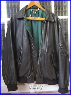 Vintage Veste Blouson Faconnable Tbe Leather Jacket Cuir Marron Fonce Taille L