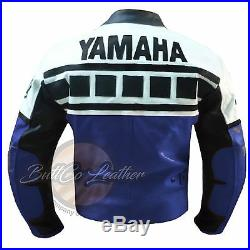 YAMAHA 6728 bleu Moto Motard Cuir Véritable veste 4RM buttco groupe