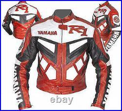 YAMAHA R1 Veste Motard en Cuir Hommes Veste en Cuir Moto Veste en Cuir de Motard