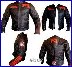 YAMAHA R1 Veste Motard en Cuir Veste en Cuir Moto Hommes Veste en Cuir de Motard