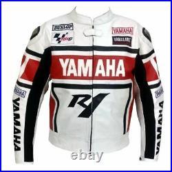 YAMAHA Veste Motard en Cuir Hommes Veste en Cuir de Motard Veste en Cuir de Moto