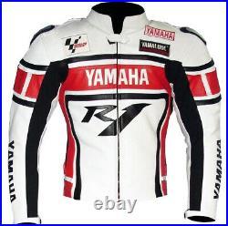 YAMAHA Veste en Cuir de Moto Veste Hommes Motard en Cuir Veste en Cuir de Motard