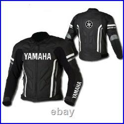 YAMAHA Veste en Cuir de Moto Veste Motard en Cuir Hommes Veste en Cuir de Motard