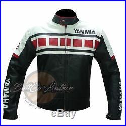 Yamaha 6728 Véritable Cuir de Vache Cuir Noir Moto Course Veste de Motard