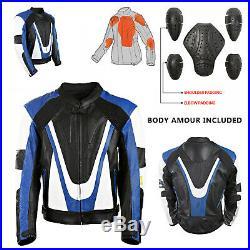 Yamaha Cuir Noir Rétro Moto Protection Protection Veste Bleue