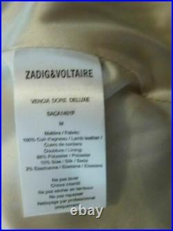 ZADIG & VOLTAIRE DELUXE FETES Blouson cuir d'agneau doré clair T M =36 / 38 TTBE